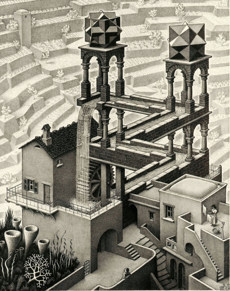 Waterfall, 1961, by M.C. Escher