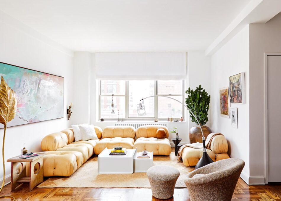 Evan Edward Interiors Park Avenue interior featuring a Morentz restored Mario Bellini sofa
