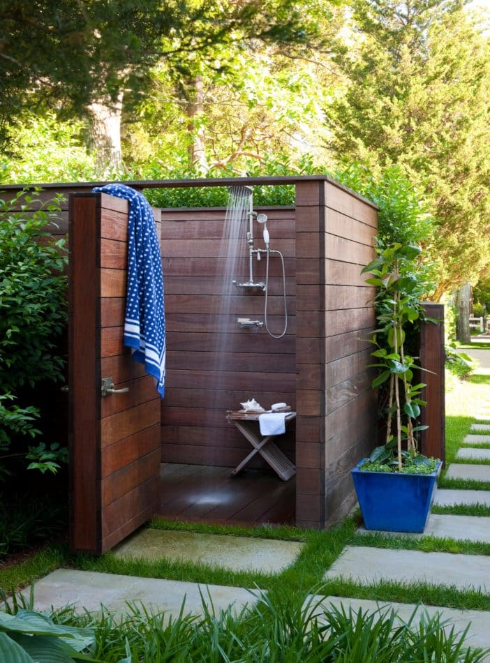 An outdoor shower by Foley & Cox in Sag Harbor, NY
