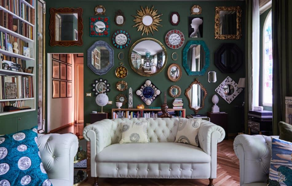 Barnaba Fornasetti's living room, in Milan, Italy
