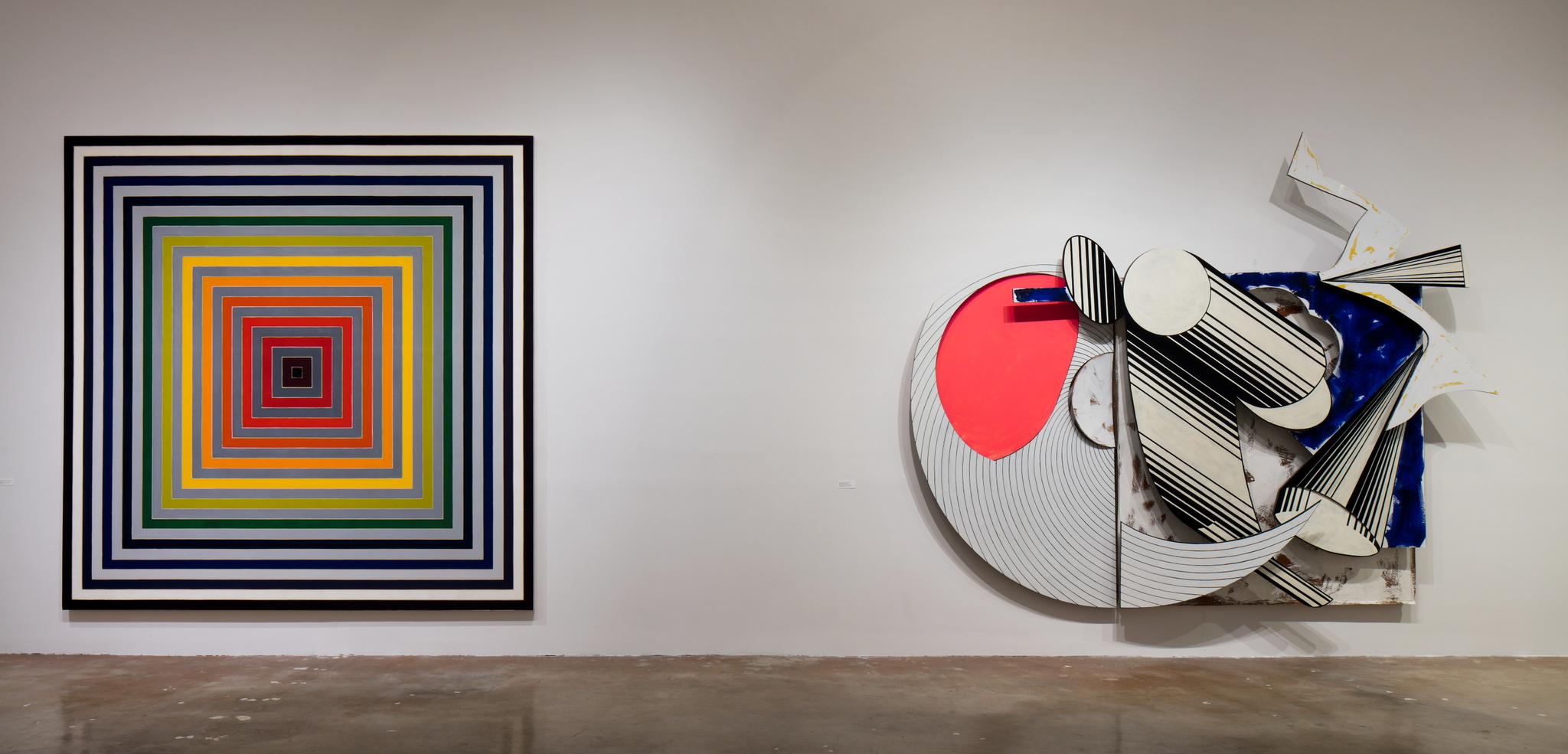 """An installation view of 2018 retrospective """"Frank Stella: Experiment and Change,"""" at the NSU Art Museum Fort Lauderdale."""