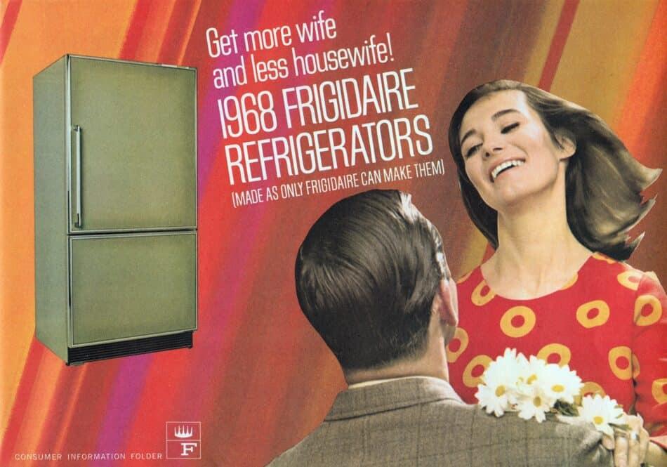 A 1968 Frigidaire ad for a new avocado-green refrigerator.