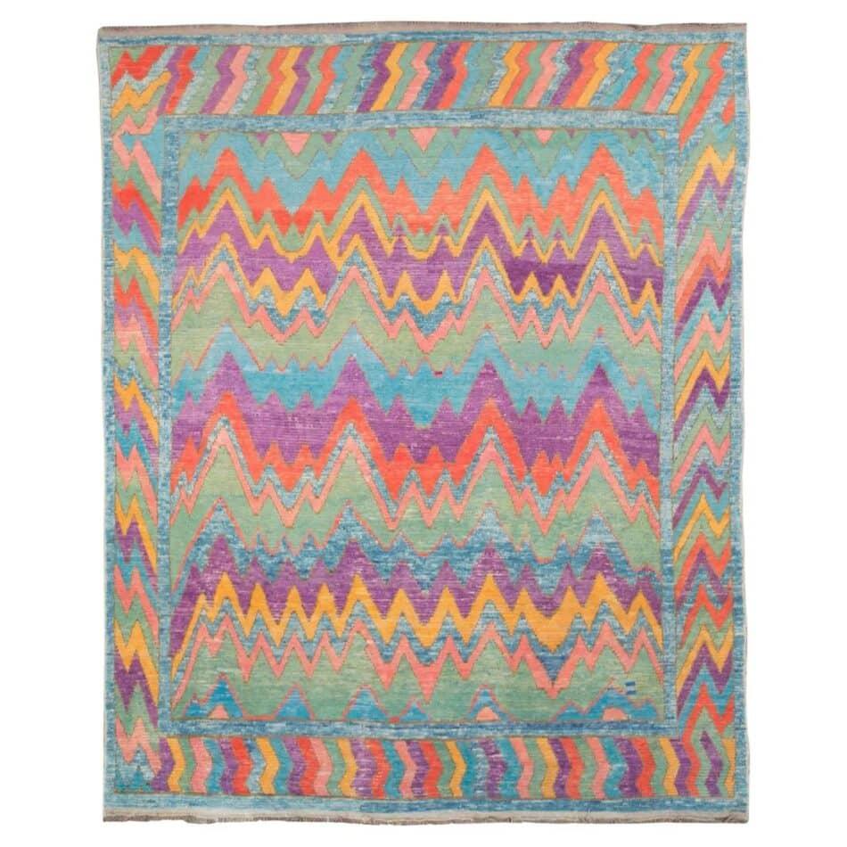 Modern handmade Turkish shag rug