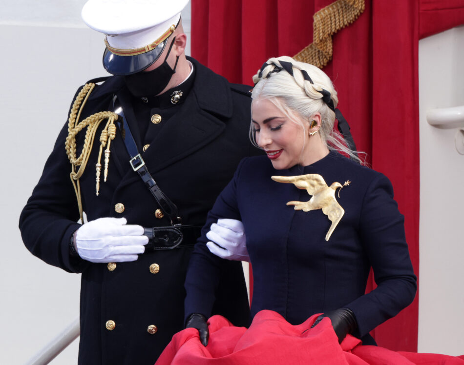Lady Gaga in Schiaparelli at the inauguration of President Joe Biden in January 2021