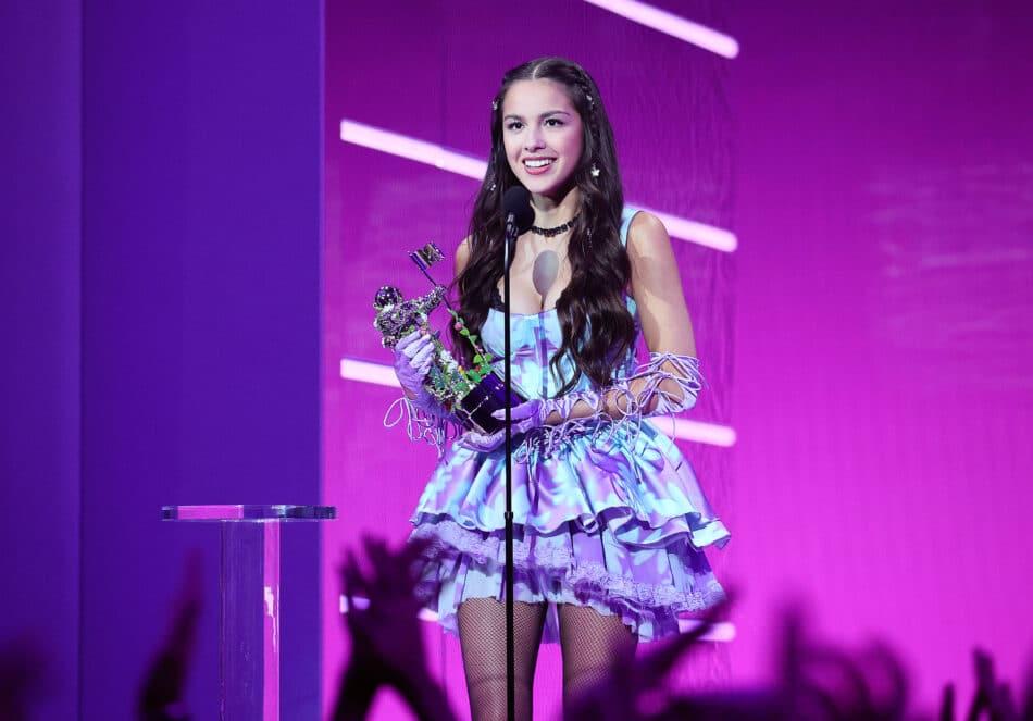 Left: Olivia Rodrigo at the MTV Music Awards in September 2021
