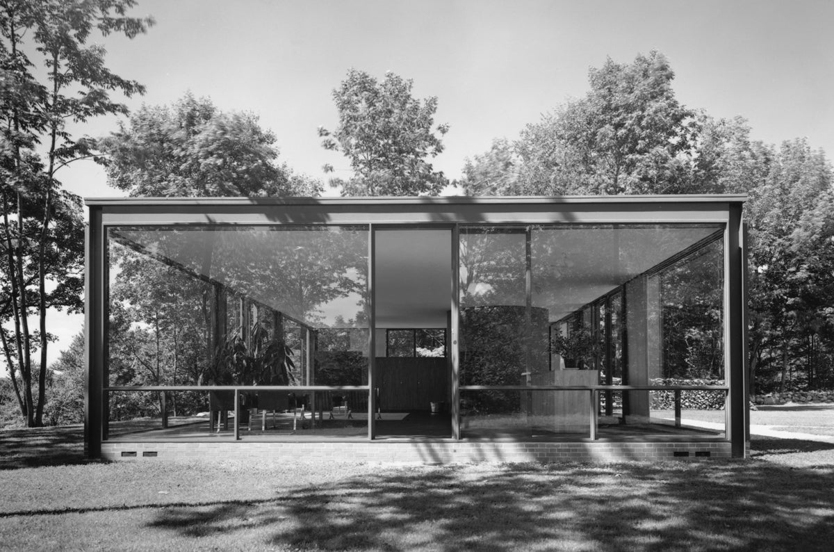 Glass House, Philip Johnson, New Canaan, CT, 1949, by Ezra Stoller