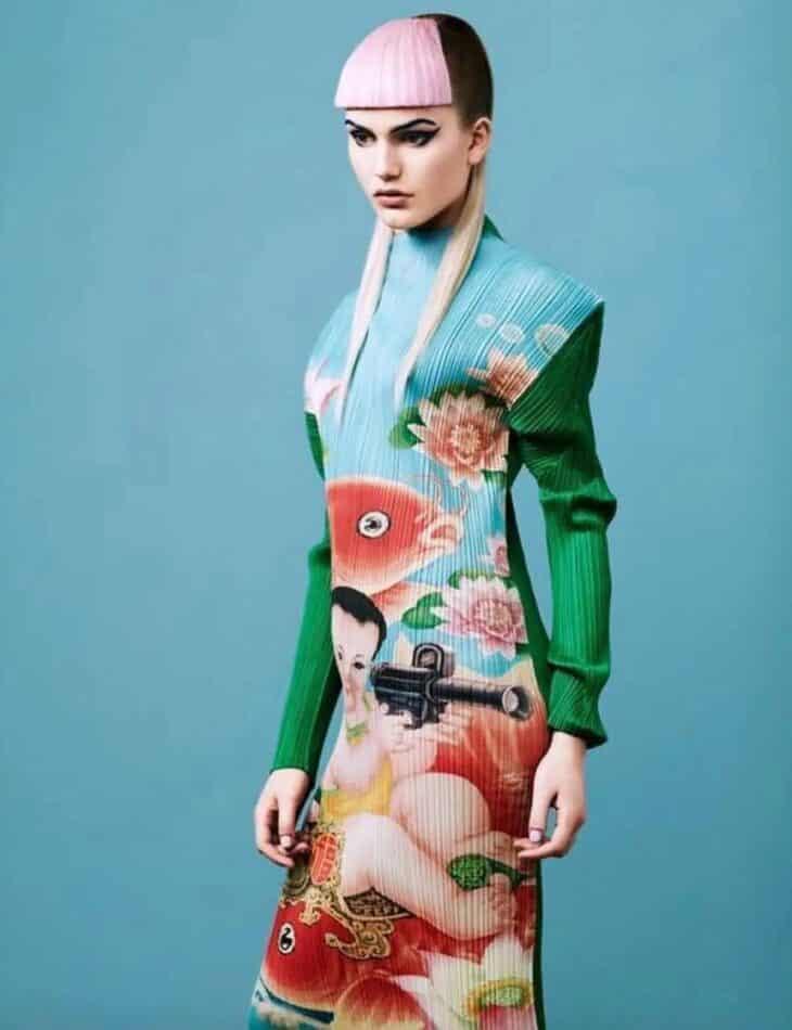 Issey Miyake Pleats Please Machine Gun Baby Dress
