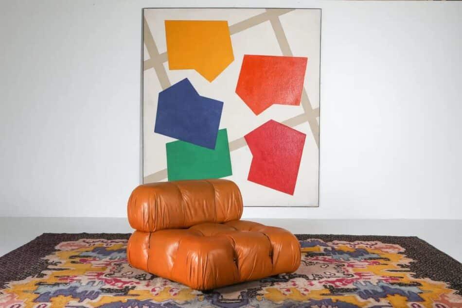 Mario Bellini Camaleonda sofa in original cognac leather