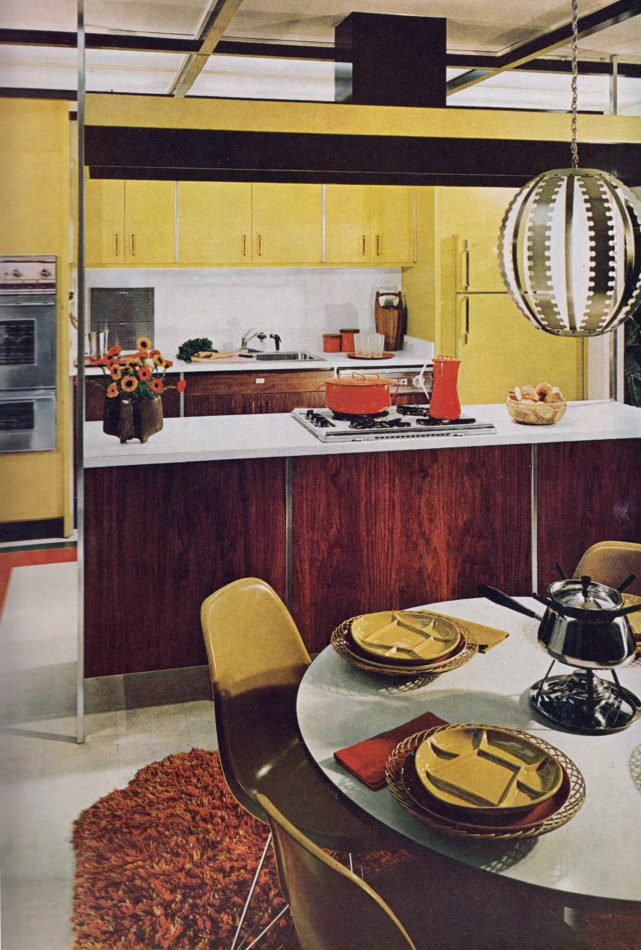The styles that would dominate decor in the 1970s are foreshadowed in this 1965 interior from Better Homes Kitchen Ideas.