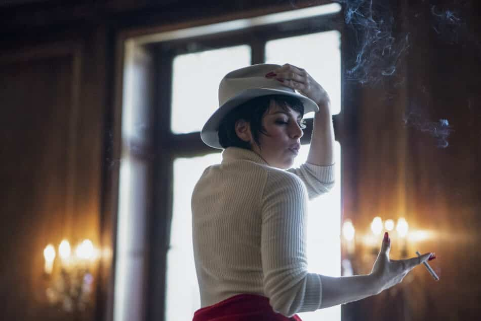 Krysta Rodriguez as Liza Minelli rehearsing for the Battle of Versailles Fashion Show in episode two of Halston.