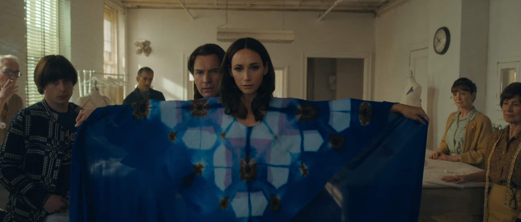 Rory Culkin as Joel Schumacher, David Pittu as Joe Eula, Ewan McGregor as Halston and Rebecca Dayan as Elsa Peretti in episode 101 of Halston.