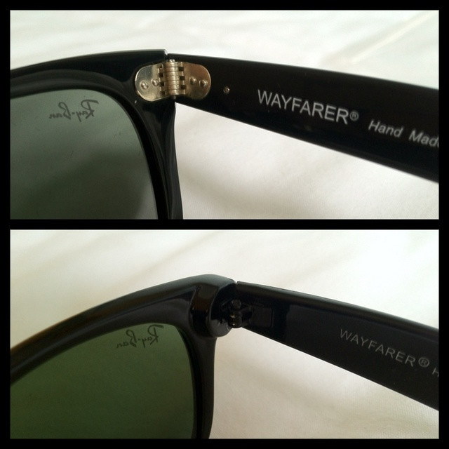 A close-up on hinges on a genuine pair of Ray-Ban sunglasses and on a fake pair
