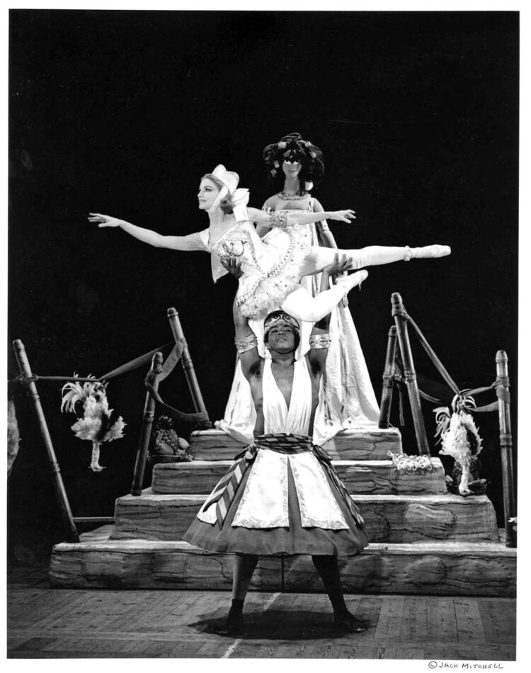Rebekah Harkness performing in Alvin Ailey's Macumba in Barcelona, 1966, by Jack Mitchell