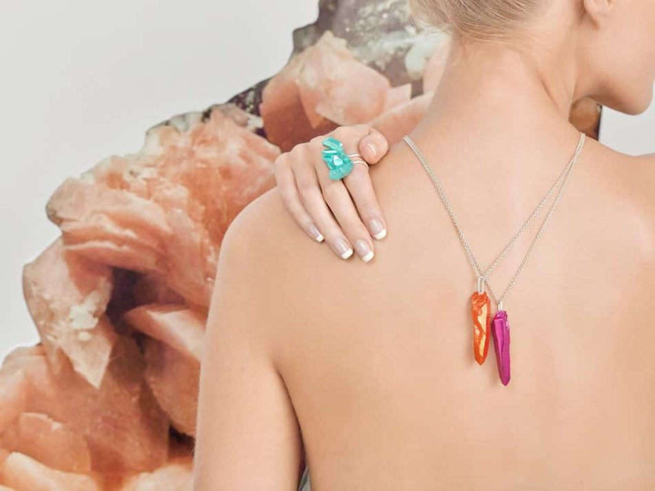 The Rock Hound's HotRocks wand pendants in orange and red, and HotRocks cluster ring