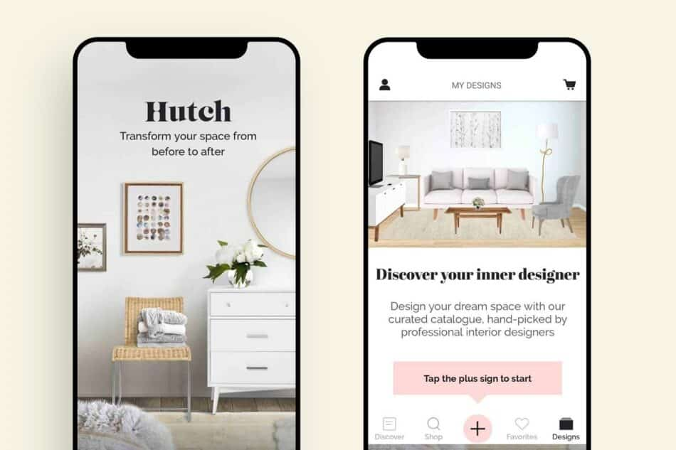 Images of the hutch app in use on two iPhones next to each other
