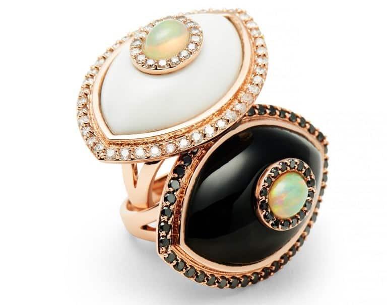Marlo Laz White Diamond Onyx Opal Evil Eye Amulet Cocktail Ring and Black Diamond Black Onyx Opal Evil Eye Cocktail Ring