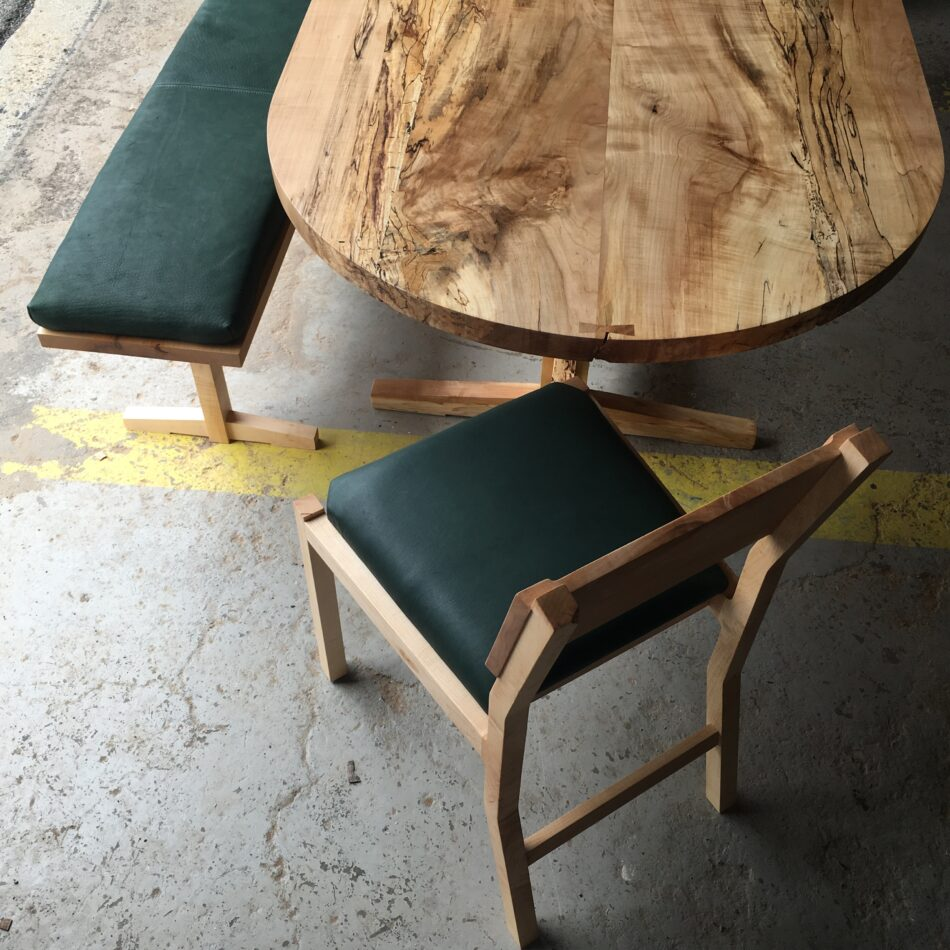 Lilliana bench, Black Walnut Hewitt dining chair and XX table
