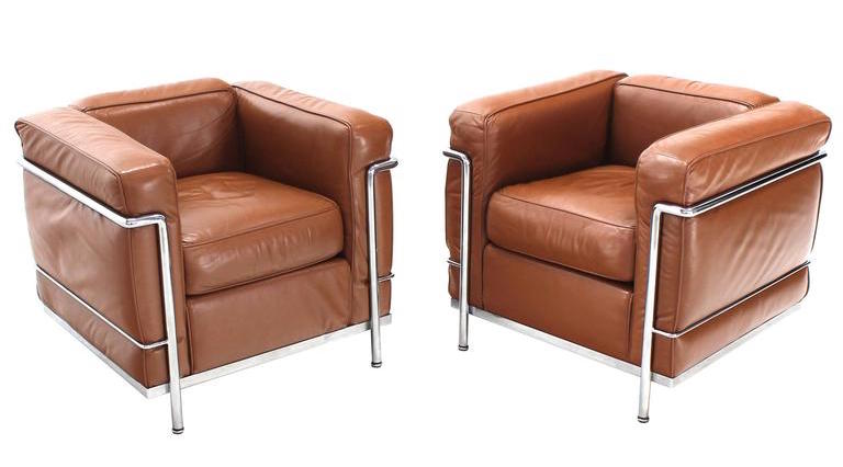 leather and steel armchairs