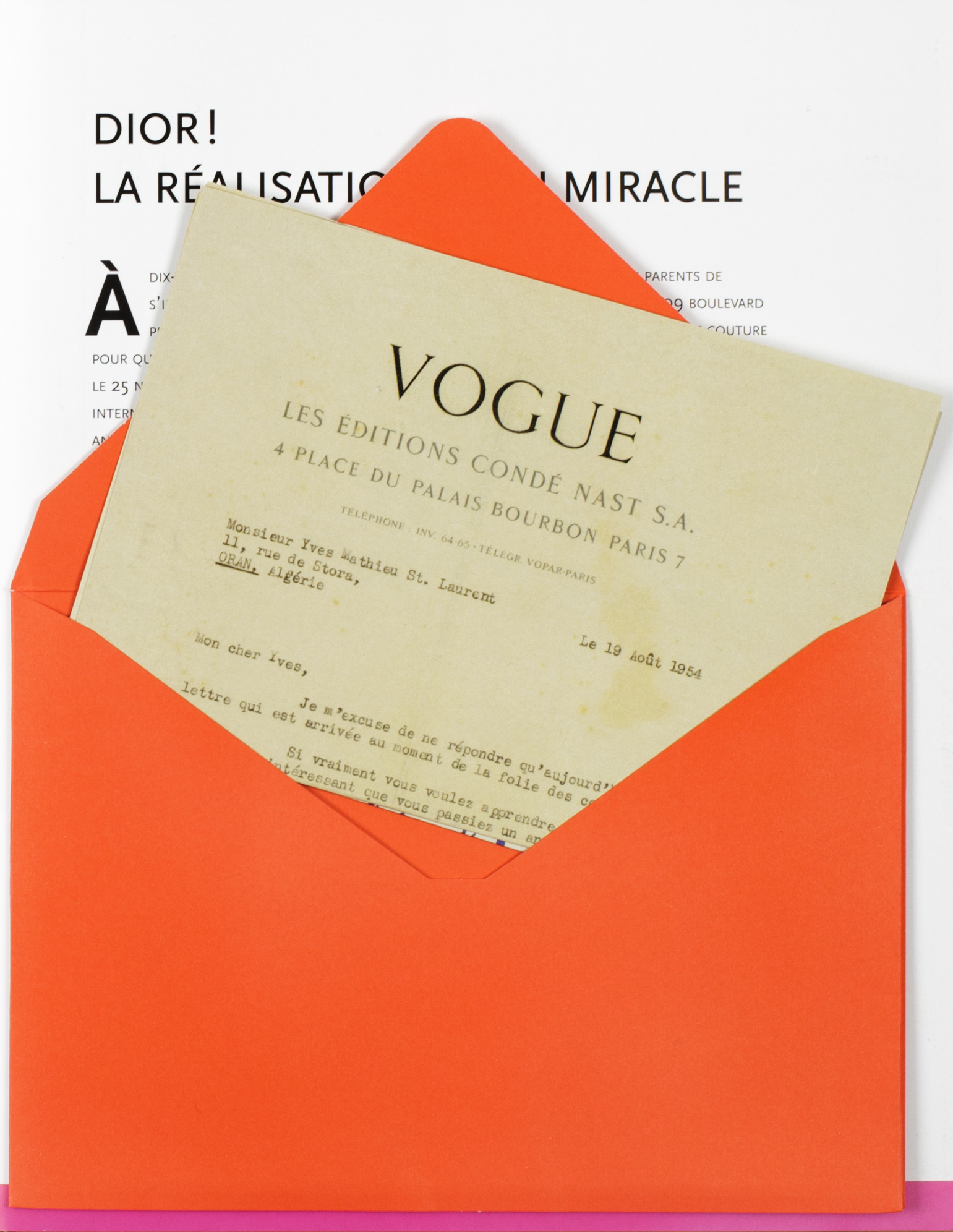 Letter from French Vogue to Yves Saint Laurent
