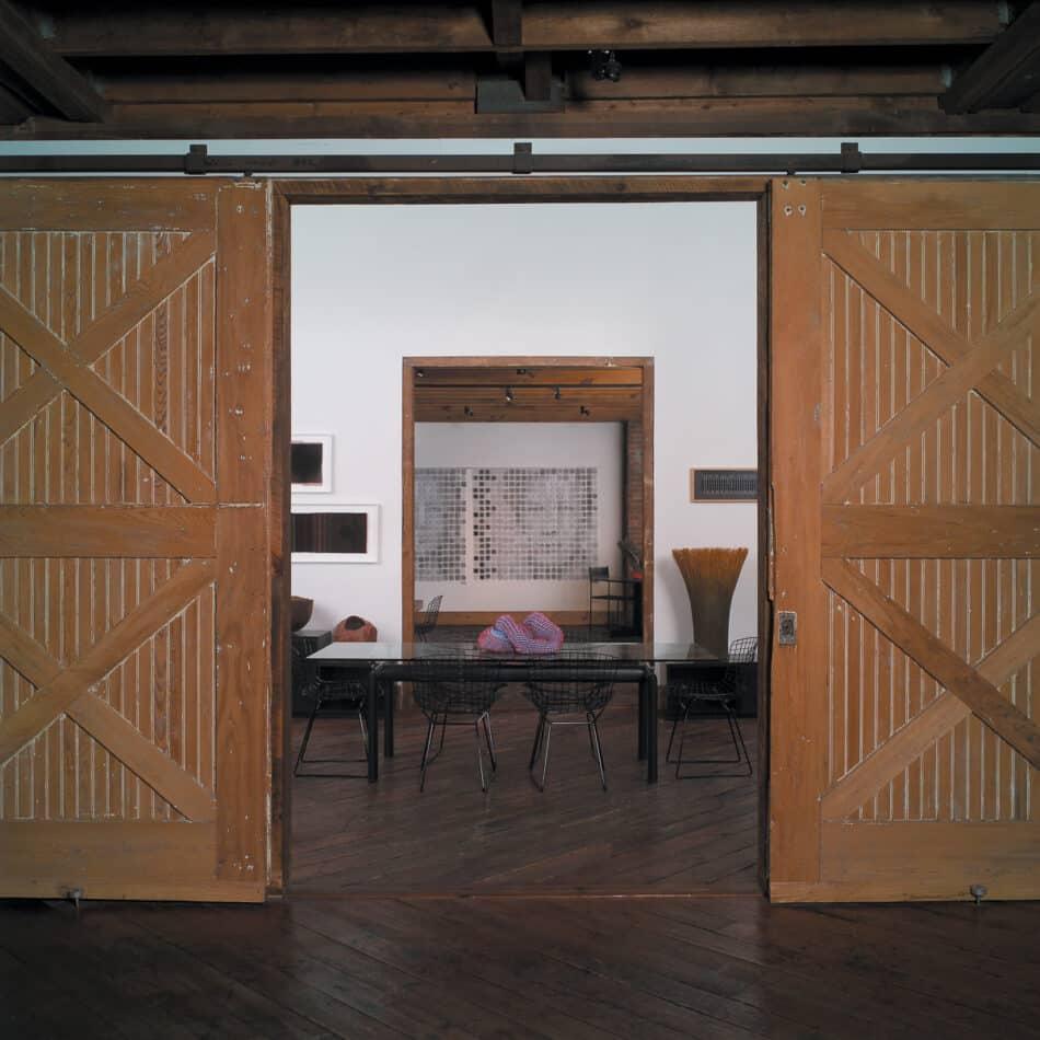 The original barn hosts a revolving showcase of artists' works
