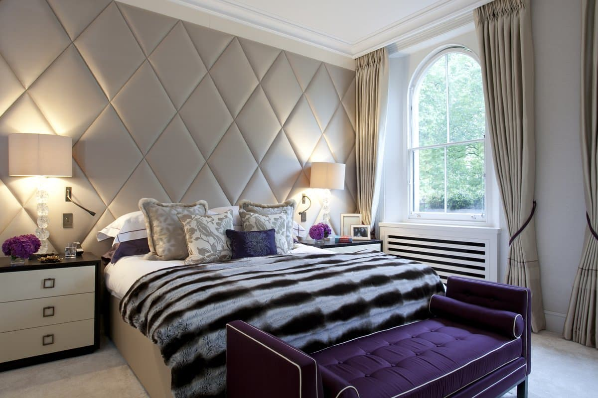 A bedroom in an Ennismore Gardens, London, apartment designed by Taylor Howes.