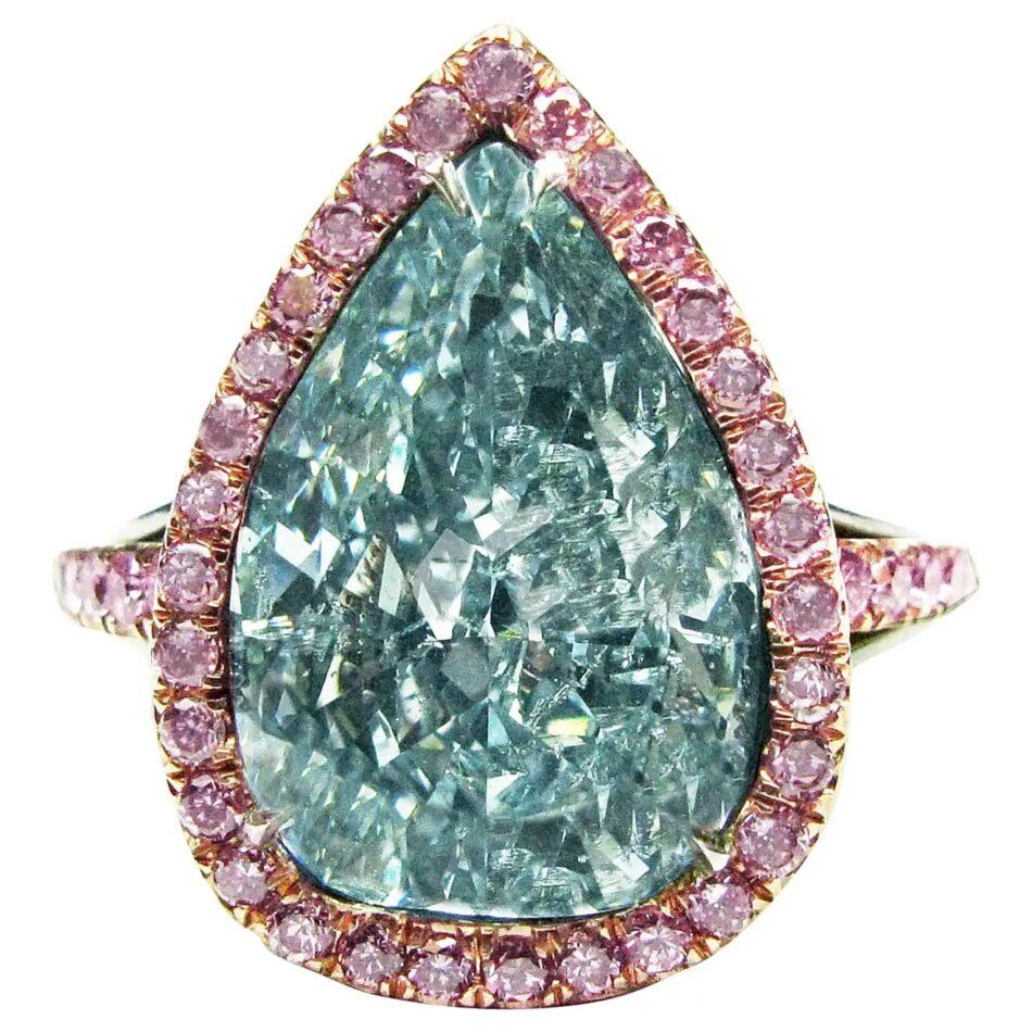 J. Birnbach fancy greenish-blue diamond ring, 2014