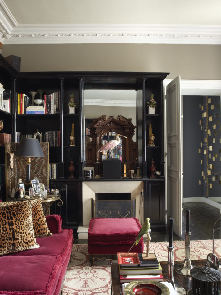 fireplace in Jamie Creel's library