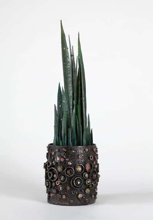 Planted Vessel sculpture, 2015, by neo-brutalist James Bearden