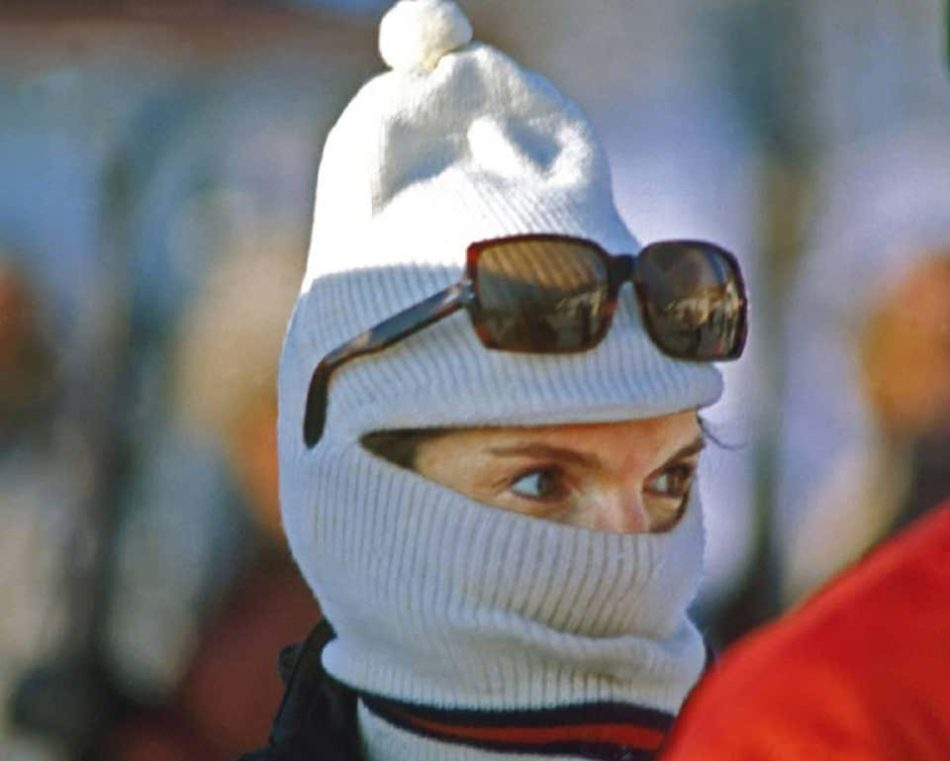 Jackie Kennedy in a Ski Mask, 1968, by Harry Benson