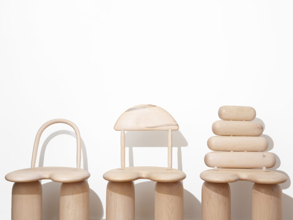 Jackrabbit Studio's Funky Bunch trio of chairs: Bend, Tusk and Stack.