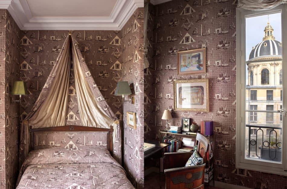 guest bedroom in Jamie Creel's Paris apartment