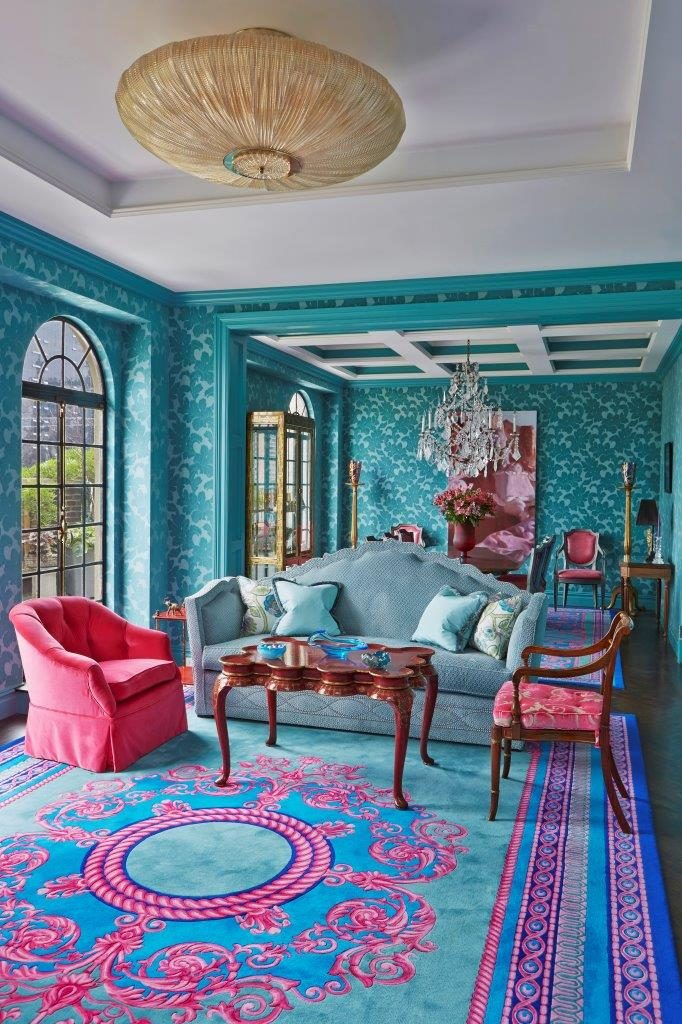 teal and pink living room by John Barman