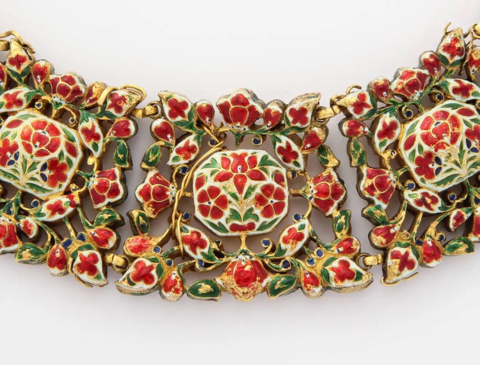 The enamel detail on the back of an antique Mughal Indian spinel, diamond and enamel necklace, ca. 1800, offered by Joseph Saidian and Sons