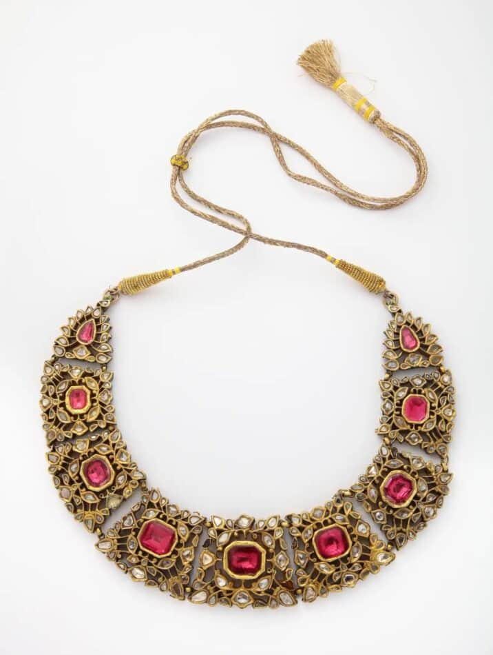 An antique Mughal Indian spinel, diamond and enamel necklace, ca. 1800, offered by Joseph Saidian and Sons