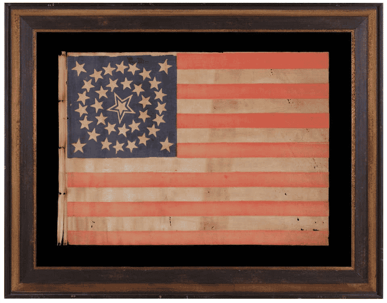 35-Star Flag in a Medallion Configuration with a Large Haled Center Star, 1863–65