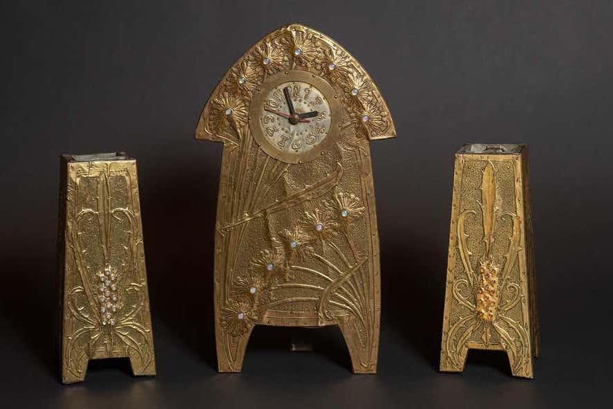 Alfred Daguet Dandelion & Thistle 3-piece Mantle Clock Set, 1903