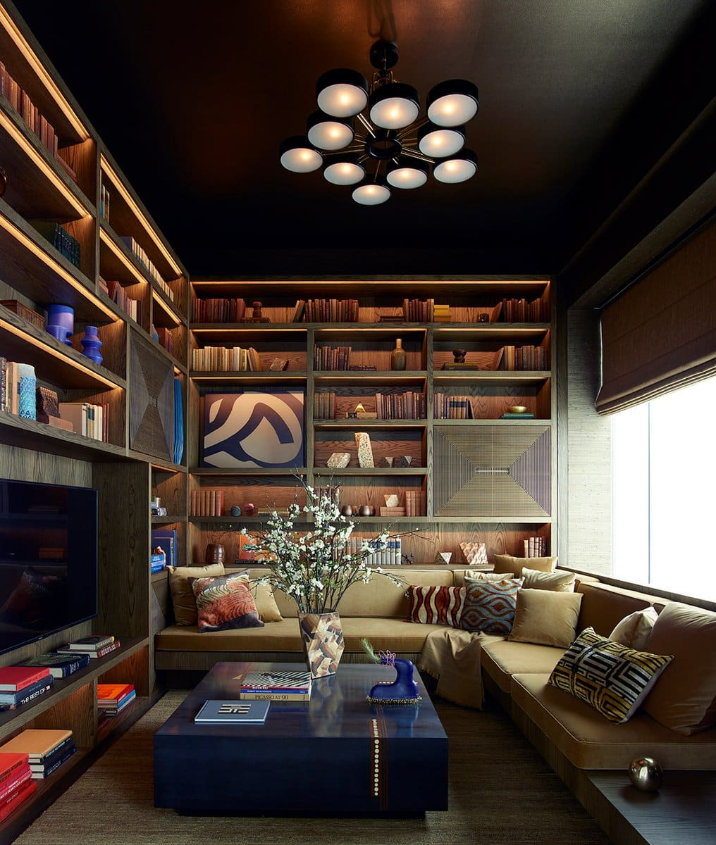 New York penthouse library by Kelly Behun