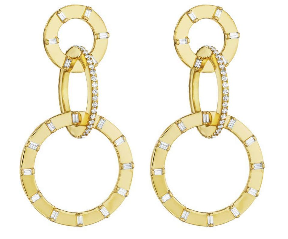 Cadar Unity Earrings, 18 Karat Yellow Gold and White Diamonds, Small