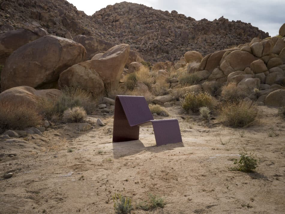 Laun Ribbon Lounge Chair with Joshua Tree background