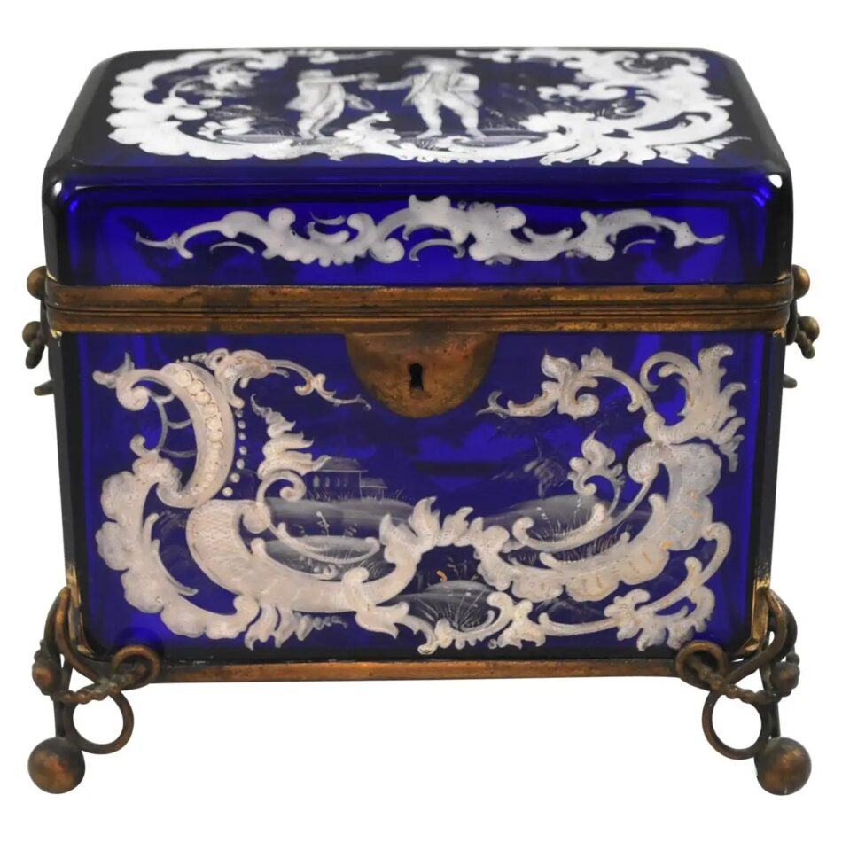 Victorian Mary Gregory Cobalt Blue Jewelry Casket