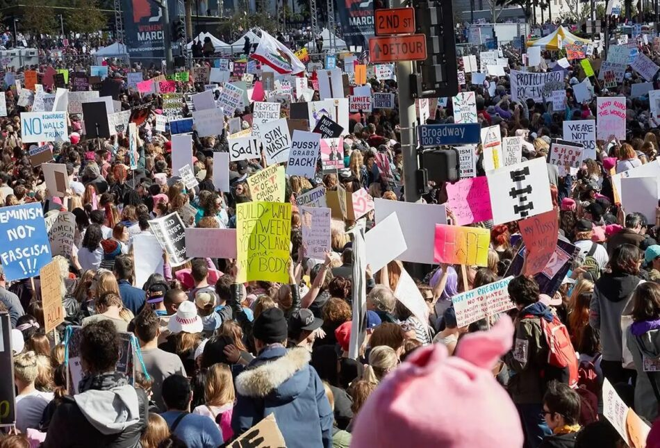 Los Angeles Women's March, 2017, by Catherine Opie, offered by Lehmann Maupin