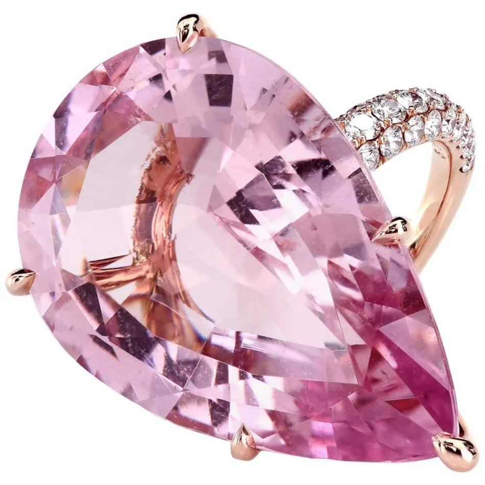 Leon Mege morganite and micro-pavé diamond ring, 2018