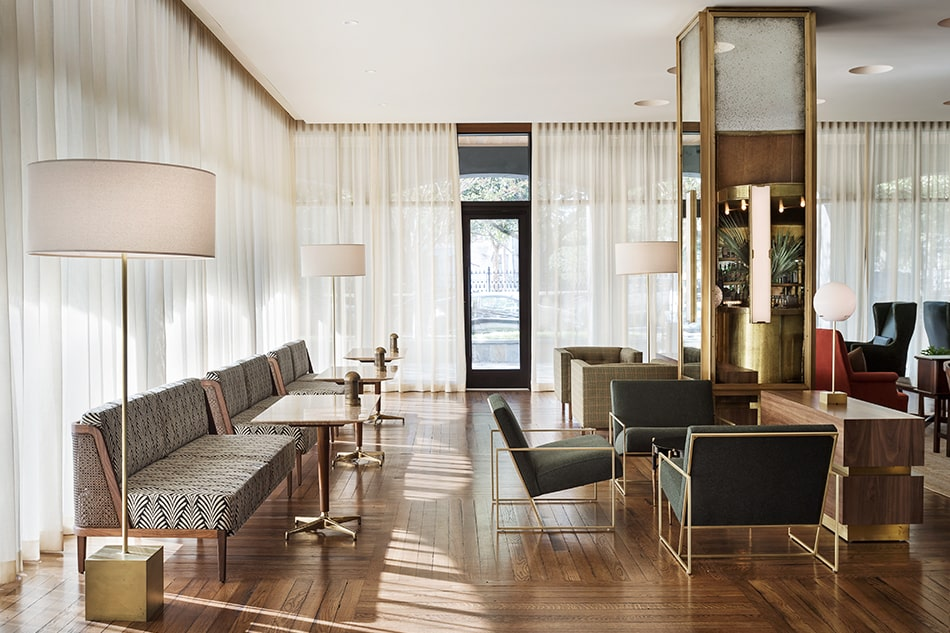 Workstead's recessed lighting for the Dewberry hotel in Charleston was influenced by Villa Necchi.