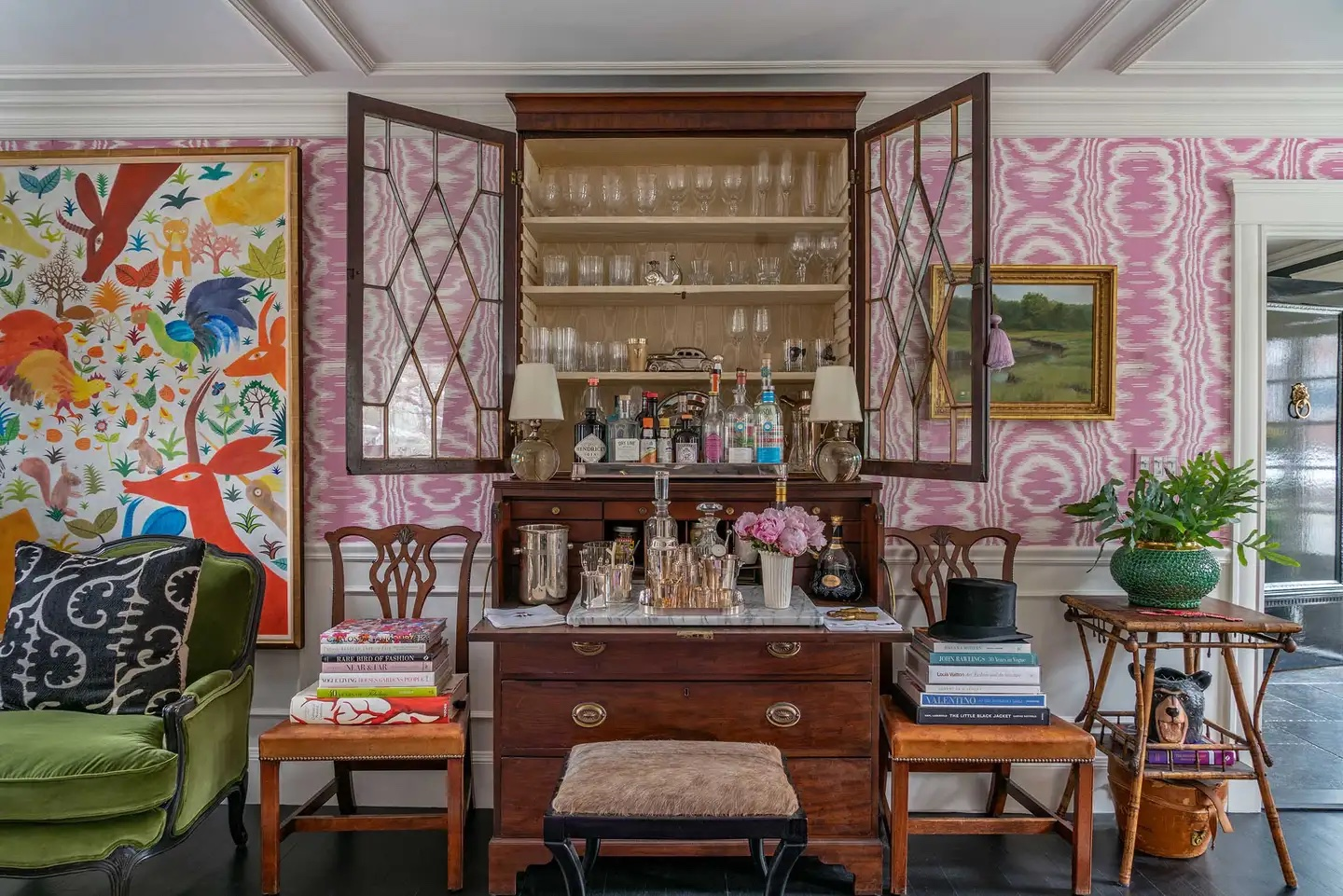 Interior with a converted secretary desk in Cherry Hill, Massachusetts designed by Liz Caan