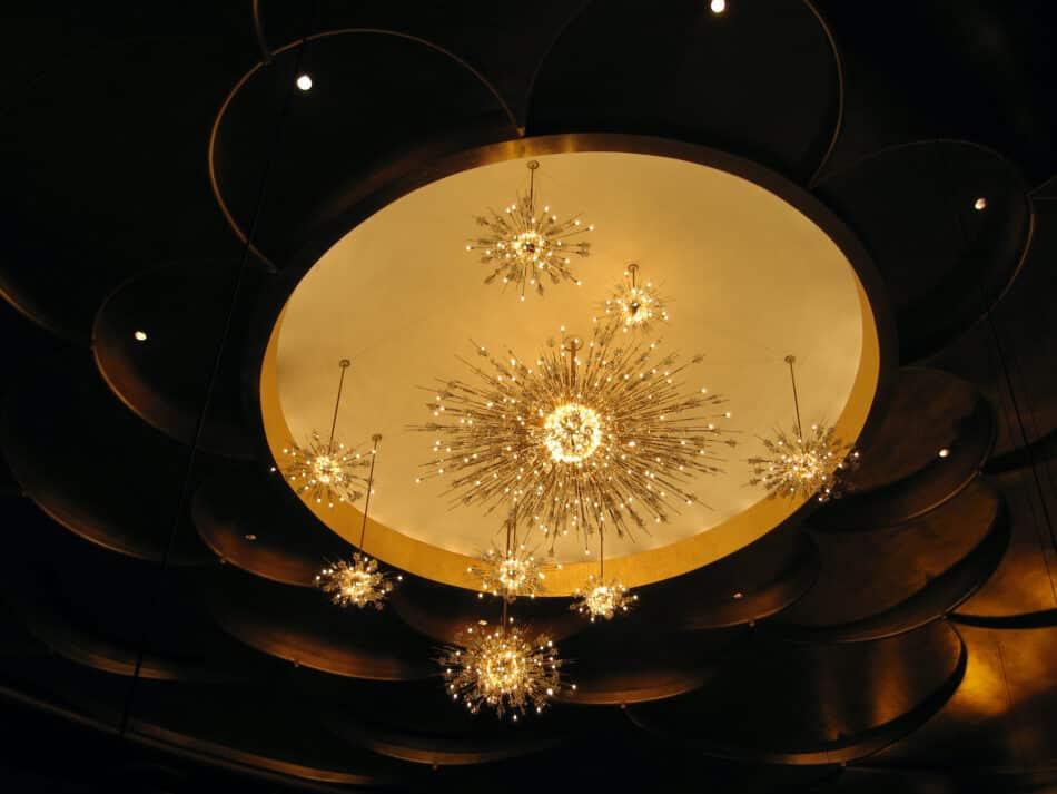 The outsize Sputniks installed in New York's Metropolitan Opera