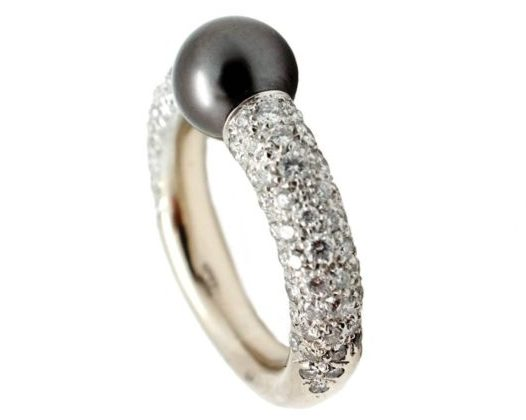 A Tahitian pearl and diamond ring by Mikimoto. Offered by Aristocrat Jewelry.