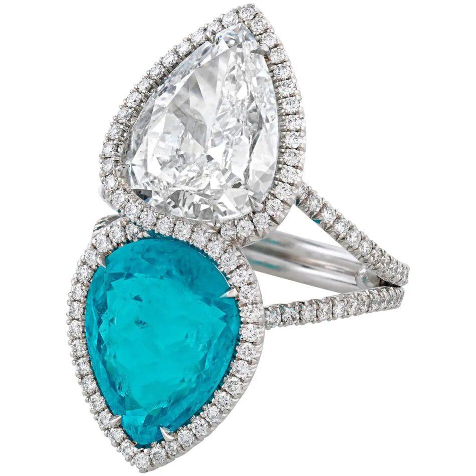 Paraíba tourmaline and diamond ring, 21st Century, offered by M.S. Rau