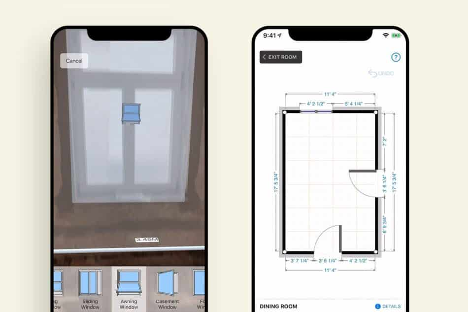 Two phones showing a window and a floorplan