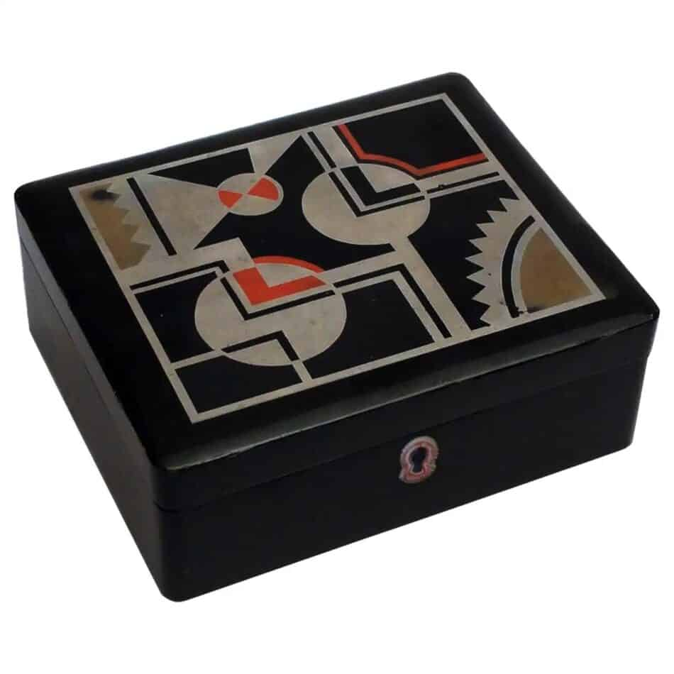 Geometric Art Deco French Lacquered Jewelry Box