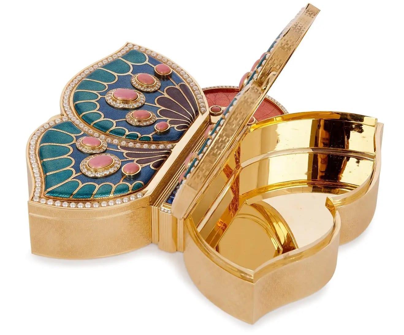 18 Karat Gold, Enamel, Pearl and Precious Stone Jewellery Box by Asprey